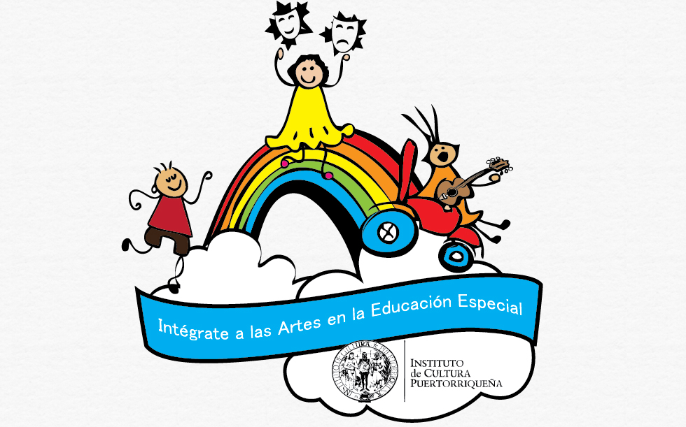 1)	Integrate to the arts logo that contains 3 children joyfully playing on a rainbow. A little boy in a wheelchair playing the guitar as another little boy dances. A little girls stands at the top of the rainbow with the sad and happy theater masks.